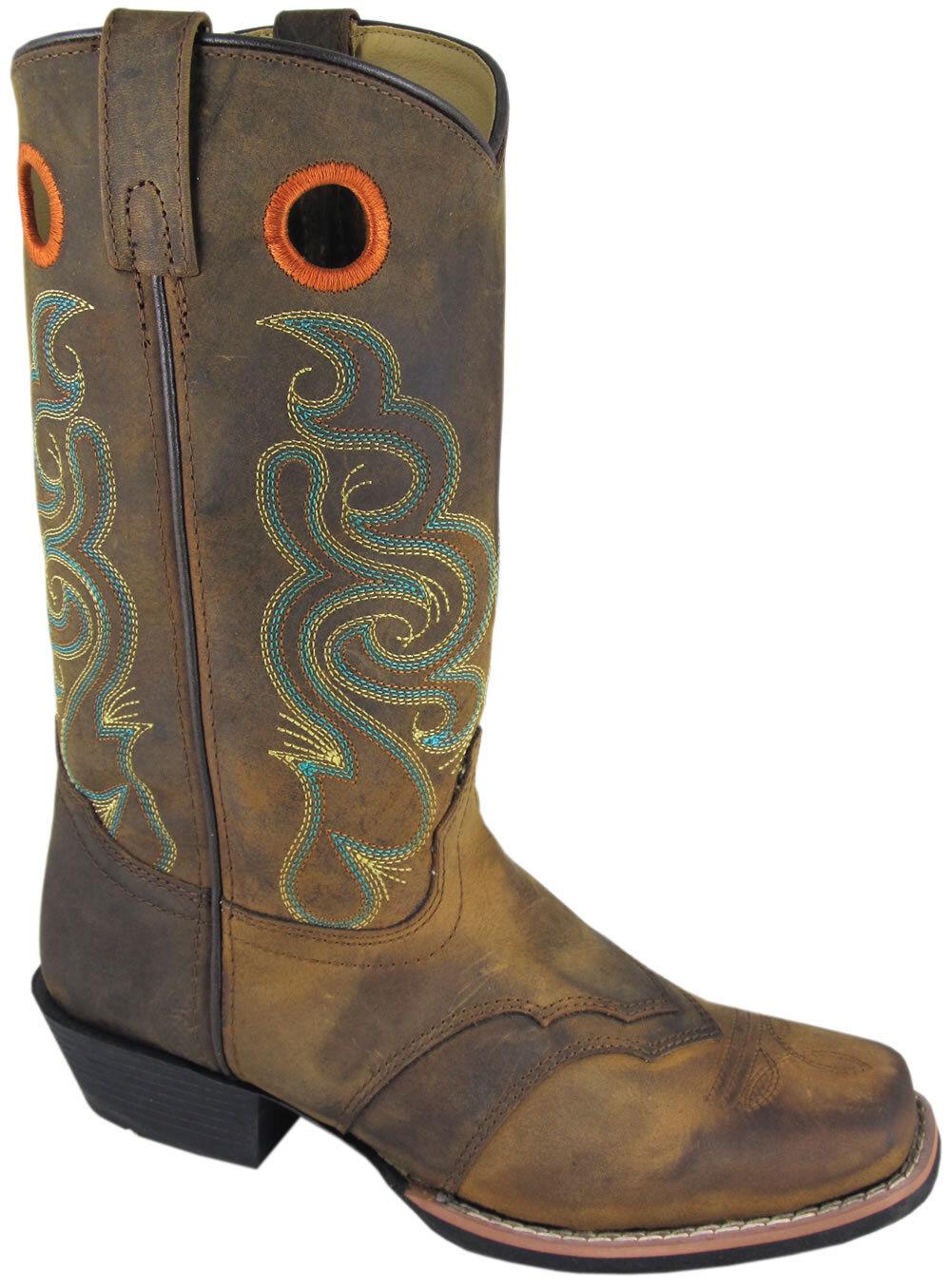 Smoky Mountain Ladies Marronee Leather Square Toe Cowboy stivali Dimensione 6 SALE