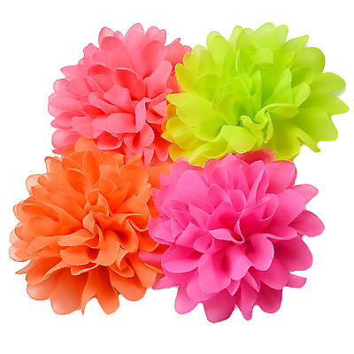 Large NEON Tone Fabric Flower Hair Clips Grips Bobbles Bridesmaid Pompom Bride