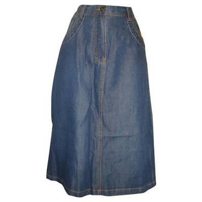 Ladies womans denim effect knee length skirt size 14 Uk eu 42.