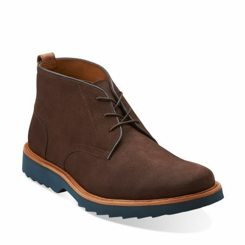 CLARKS FULHAM HI MEN'S BROWN NUBUCK LEATHER BOOTS STYLE