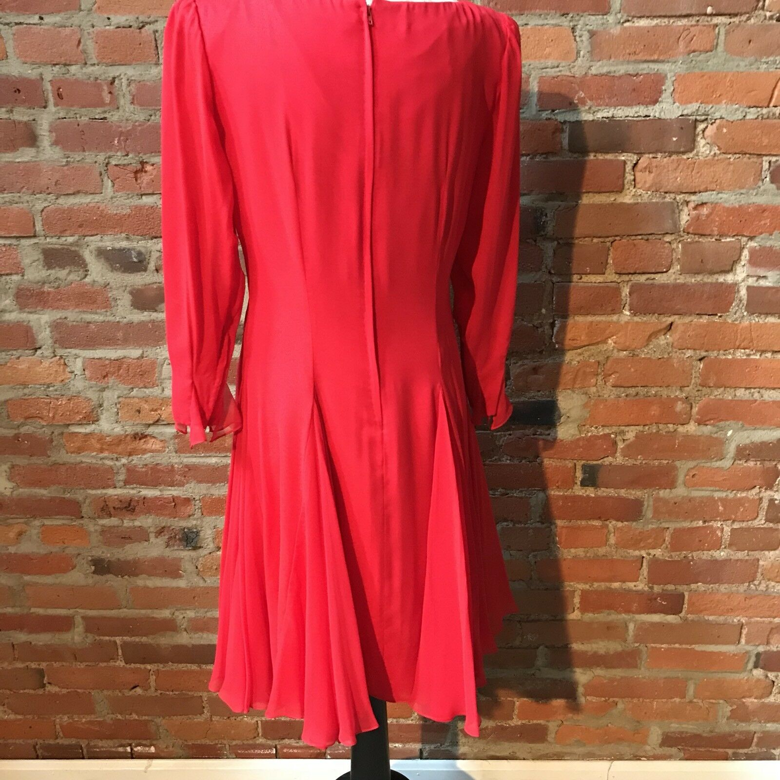 Vintage Travilla Red Silk Chiffon Dress Cocktail … - image 6