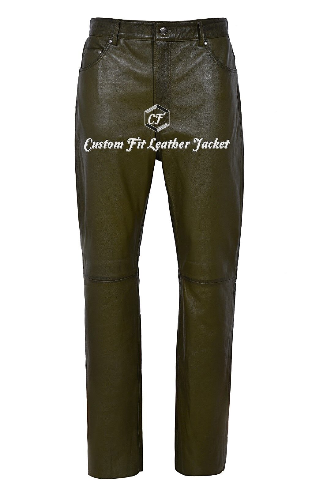 Men's Leather Trouser Motorcycle Olive Grün Lambskin Leather Jean Style 501