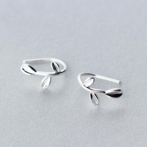 Argent Sterling 925 Femmes Petite Feuille Branch Hook Ear Cuff Clip-Sur Boucles d/'oreilles A1063