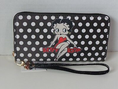 Betty Boop Black With White Polka Dots Zipper Wallet Licensed New