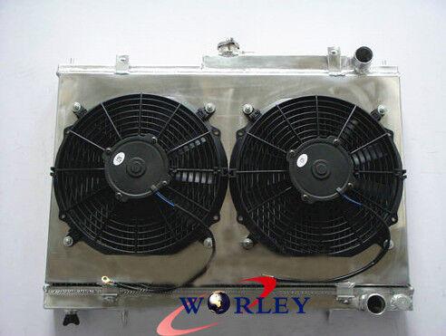 52MM For NISSAN SKYLINE R33 R34 GTS-T RB25DET ALUMINUM ALLOY RADIATOR+FAN SHROUD