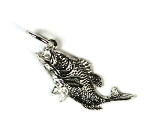Sea Bass Pendant Fish Charm Antiqued Fashion Sterling Silver