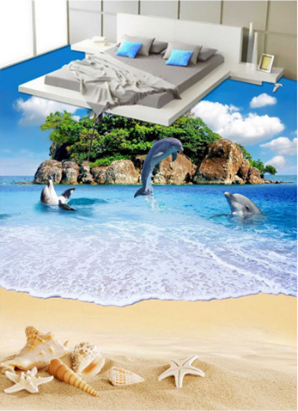 3D Island Beach 4376 Floor WallPaper Murals Wallpaper Mural Print AJ AU Lemon