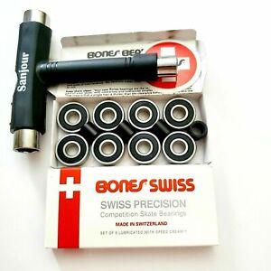 Bones-Swiss-Skateboard-Bearings-amp-T-Tool-8-Pack-New-Set-608-8mm-open-box