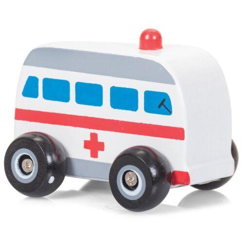 RUOTE Di Legno Macchinine-Auto della polizia Fire Truck AMBULANZA autobus Veicoli