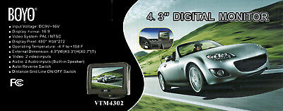 "Boyo Vision VTM4302 4.3/"" Standalone Rear View Color Monitor"