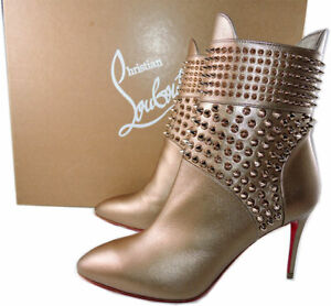 timeless design 2fe7d 2fa1a Details about Sz 36.5 Christian Louboutin Hongroise 85 Spiked Red Sole  Booties Ankle Boots