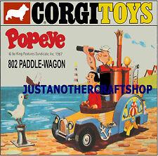 CORGI TOYS 802 POPEYE TONDA Carro di grandi dimensioni Poster Pubblicità opuscolo Negozio Segno