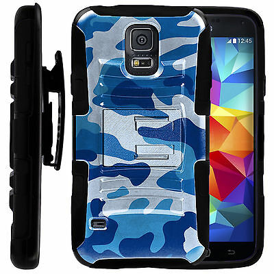 FOR SAMSUNG GALAXY PHONES HEAVY DUTY HYBRID CASE COVER CLIP HOLSTER Blue CAMO