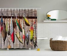 Beige Fish Fishing Lures Fisherman Gift Fabric Shower Curtain Art Bathroom