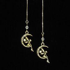 SJ1~14K Gold Vermeil Threader Star Fairy Moon Angel Crystal Dangle Earrings