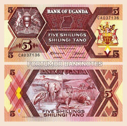 UGANDA 5 SHILLINGS 1987 UNC 5 PCS CONSECUTIVE LOT P-27