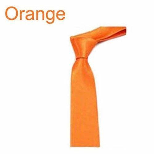 Men Solid Color Thin Slim Skinny Wedding Plain Satin Arrow Tie Narrow Necktie