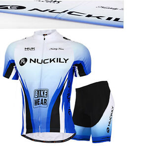 Cycling Bike Short Sleeve Clothing Set Bicycle Men Wear Suit Jersey+Shorts Blue