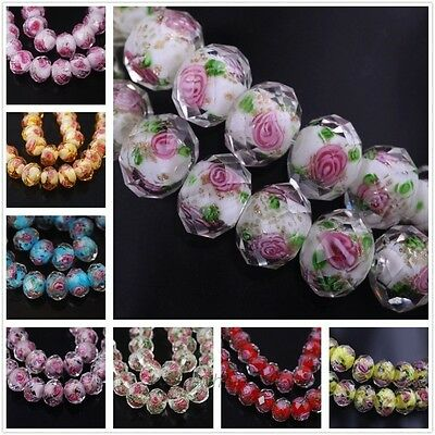 10Pcs Lots Faceted Lampwork Glass Rose Flower Loose Spacer Beads Findings 12x8mm