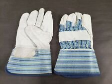 Lot Of 12 Pairs Safety Economy Split Cowhide Leather Work Gloves One Size