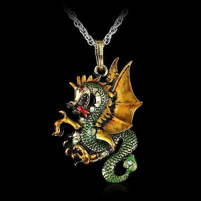 Retro Fire Dragon Necklace Pendant Jewelry  Sweater Chain Enamel inlay Crystal