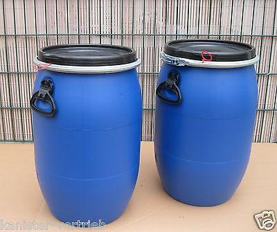 2 x 60 Liter Kunststofffass Deckelfass Futtertonne Gepäcktonne NEU /& UNBENUTZT