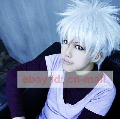 HunterXHunter Killua Zoldyck Short Silver white Anime Cosplay Costume Wig