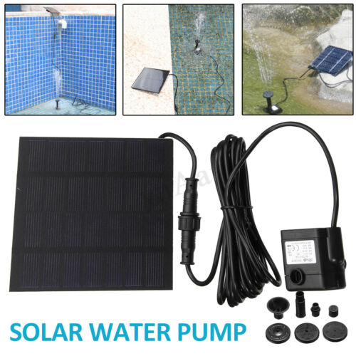 Solar Water Pump Fountain Powered Panel Pond Pool Garden Home Watering Kit