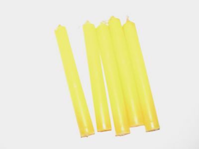 """Yellow 4"""" Ritual Chimes Candles 5 pack Wiccan Hoo Doo"""