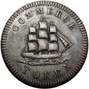 1828-Montreal-Canada-Token-Francis-Mullins-amp-Son-Sailing-Ship-Breton-563