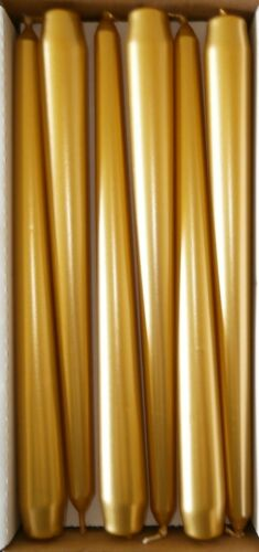 Tapered Candles Metallic 25cm Tall Non Drip  Gold Silver Pearl