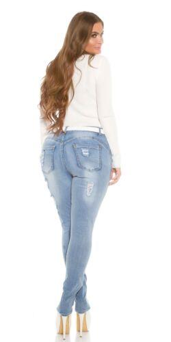 Curvy Girls Koucla Push Up Jeanshose Skinny Jeans Hose mit Rissen und Gürtel