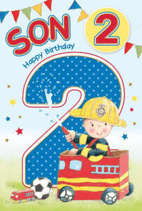 Son Age 2 2nd Fireman Engine Bunting Design Happy Birthday Card