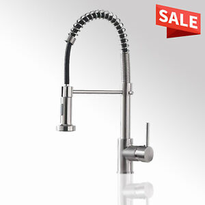 Kitchen Faucet with Pull Down Sprayer Single Handle Spring Mixer Brushed Nickel