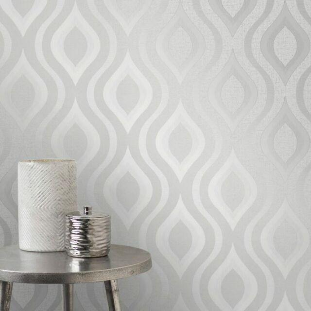 FD42239 Monaco Geometric Silver Glitter Wallpaper New Fine Decor