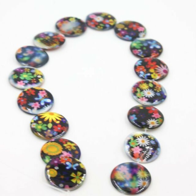 1 String Multicolour Flowers Charms Jewelery Making Shell Beads 25mm 111512