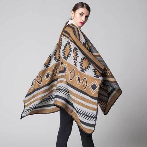 Celeb Autumn Winter Poncho Blanket Wrap Shawl Cape Geometry Plus Size Cashmere