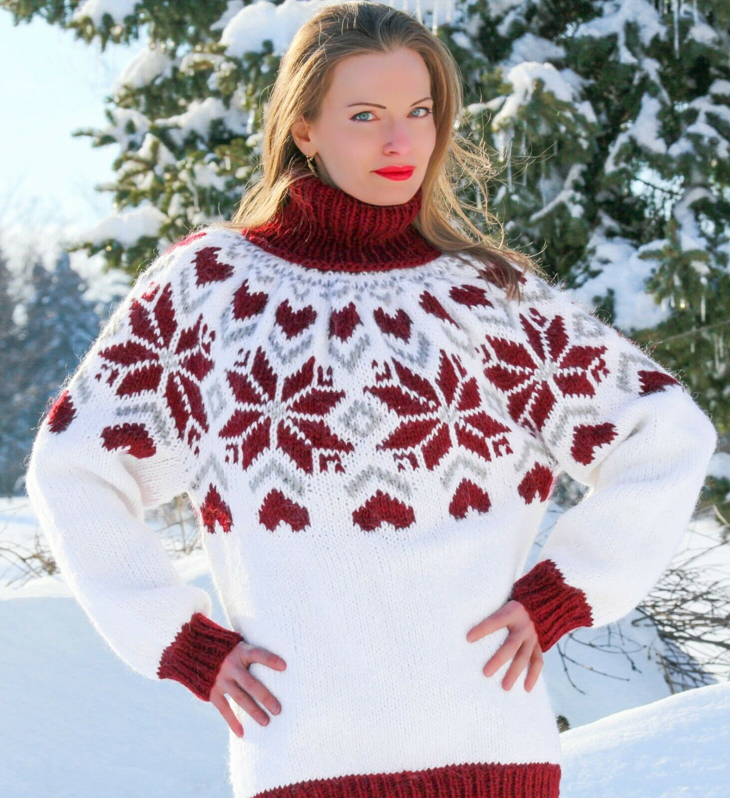 Weiß sweater Icelandic Wolle turtleneck hand knitted Nordic jumper SUPERTANYA