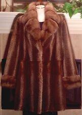 RARE!Vintage Genuine Mink And Sable Fur Coat Jacket Size 16 Mustela Vision