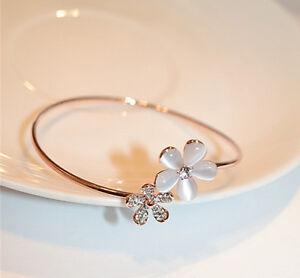 Fashion-Women-Crystal-Daisy-Flower-Bangle-Bracelet-Open-Adjustable-Jewelry-Gift
