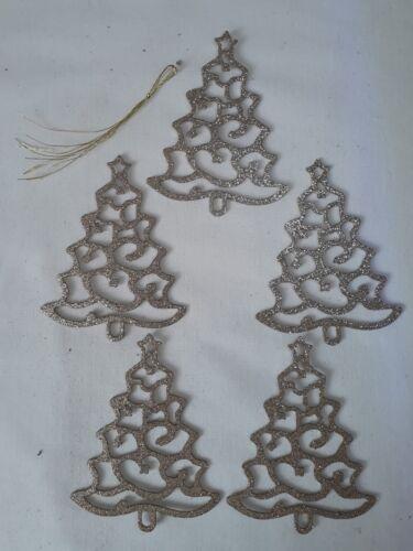 Gold Glitter Décorations pour arbres de Noël 5 Pack pailleté arbres//flocons de neige
