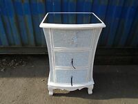 Pair White Crackle Mosaic Mirror Chest Of Drawers 3 Drawer Bedside Cabinets