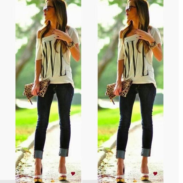 Fashion Womens Summer Casual LOVE Letter Print Blouse Short Sleeve T Shirt Tops