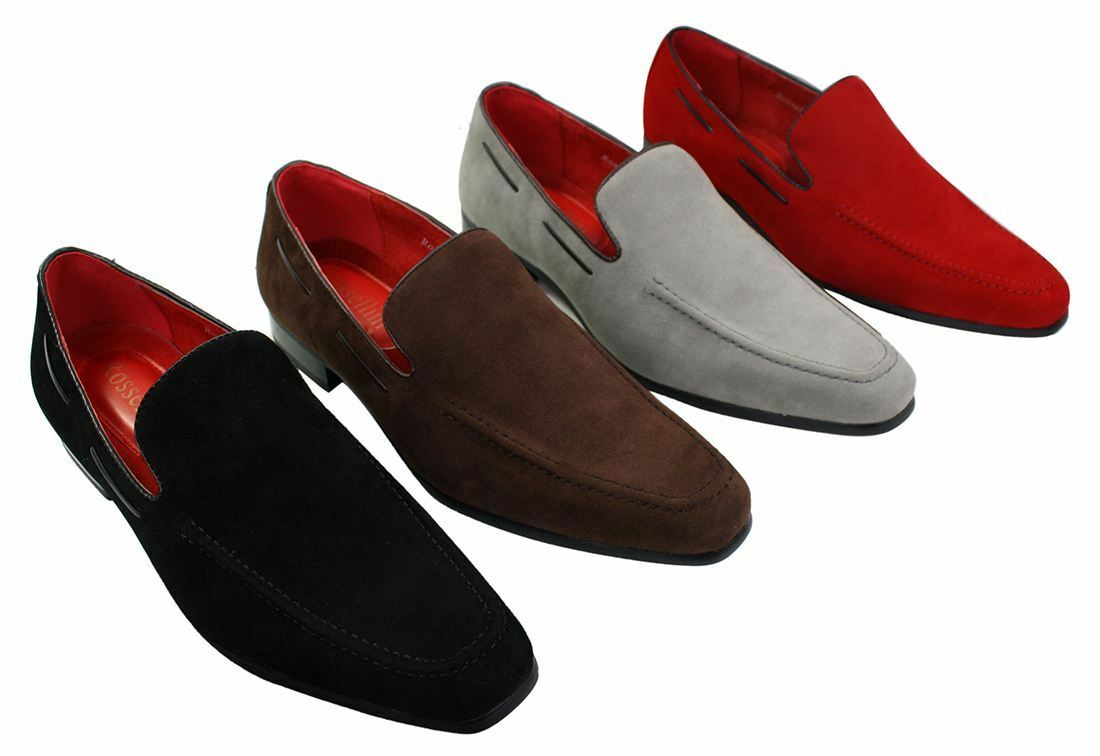Mens Suede Slip On Loafers Driving shoes Formal Smart Casual Leather Italian
