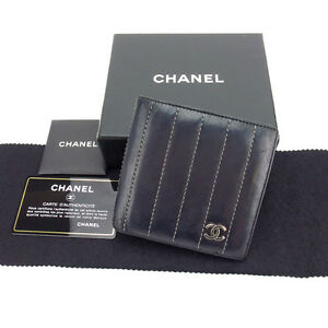 Chanel-Wallet-Purse-Bifold-Black-Silver-Woman-Authentic-Used-Y3329