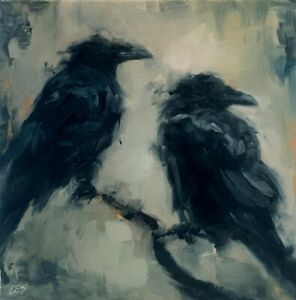 Abstract-Raven-OIL-Painting-Crows-Black-Birds-on-Branch-Original-Art-CES-NFAC