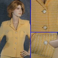 GORGEOUS! ST JOHN TEXTURED KNIT YELLOW/WHITE JACKET  SZ 2 EXCELLENT!
