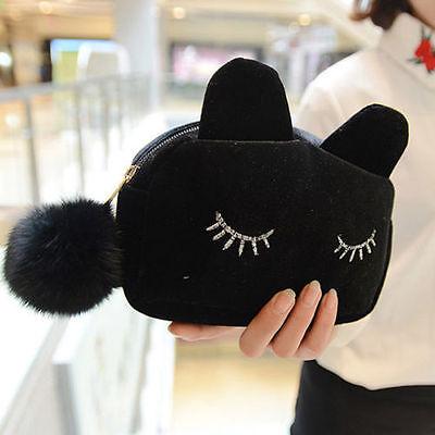 Soft Cute Flannel Cosmetic Makeup Cartoon Cat Storage Bag Pen Pencil Pouch Cases