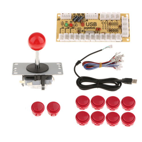 PC Joystick 5Pin Arcade Zero Delay USB Encoder Board 10 Push Buttons DIY