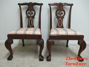 2-Baker-Furniture-Mahogany-Ball-Claw-Chippendale-Dining-Room-Side-Chairs-C